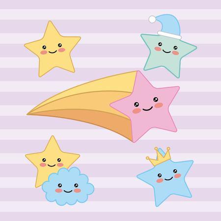 happy stars cloud fantasy cartoon vector illustration