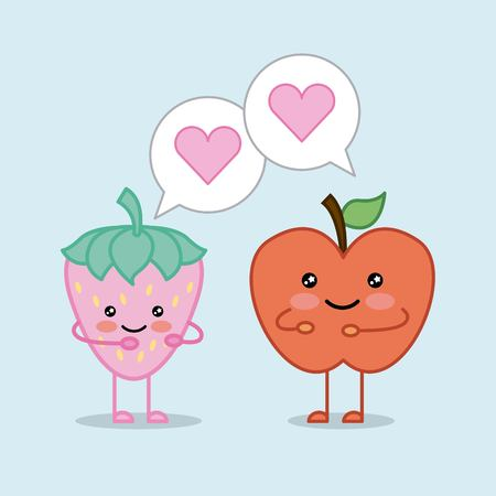 funny apple and strawberry cartoon vector illustration