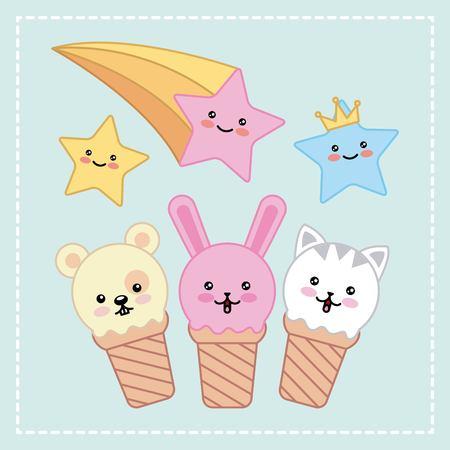 ice cream faces animals stars cartoon vector illustration