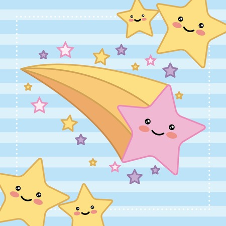 stars bright happy cartoon vector illustration Vectores