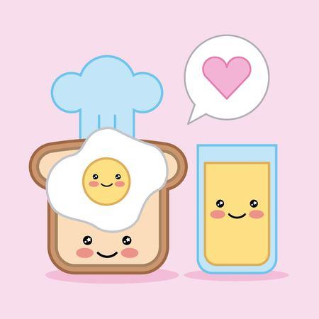 egg bread juice breakfast cartoon vector illustration