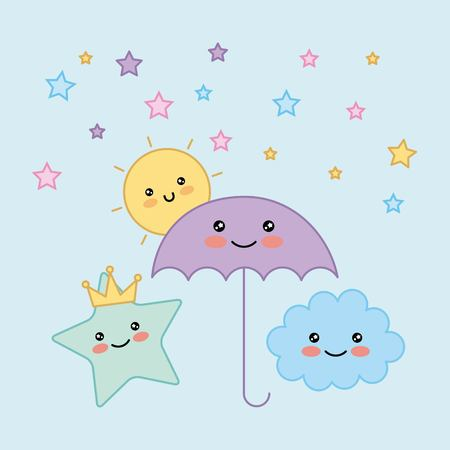 umbrella star cloud sun cartoon vector illustration