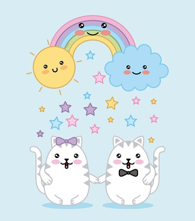 couple cats rainbow cloud sun cartoon vector illustration