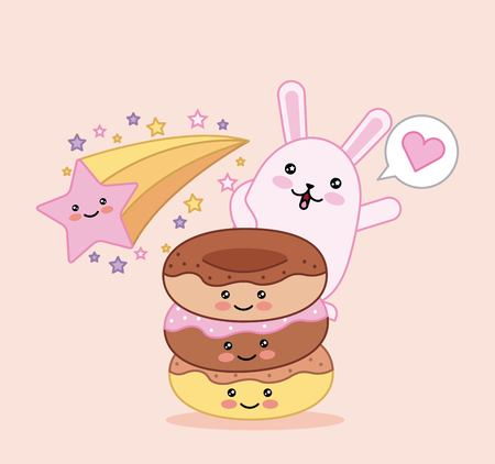 sweet cat and donut star happy cartoon vector illustration