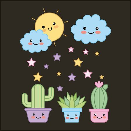 potted plants and cloud sun dark background cartoon vector illustration