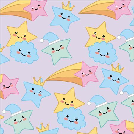 star cloud crown cartoon pattern vector illustration