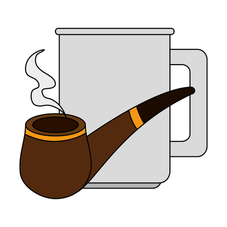 coffee cup with pipe wooden vector illustration design Archivio Fotografico - 101455006