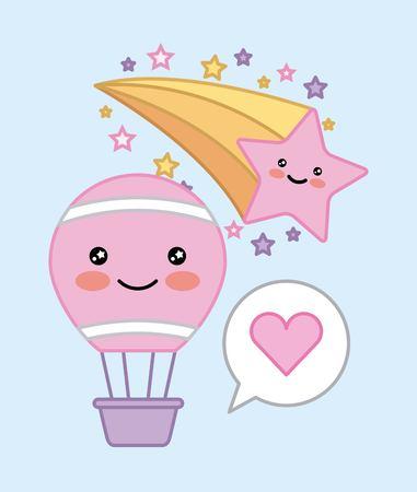 hot air balloon star decoration cartoon vector illustration Illustration