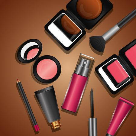 cosmetics makeup set brush eyeliner lipgloss mascara mirror vector illustration