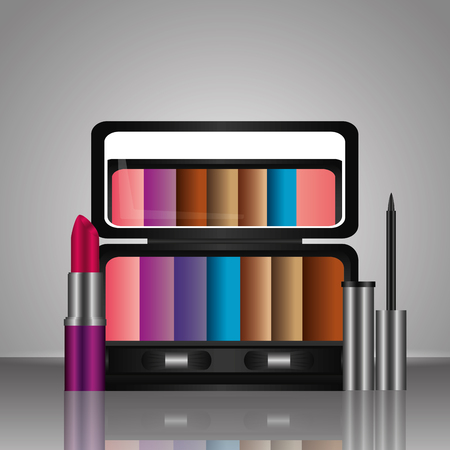 cosmetics makeup eyeshadow palette lipstick and liquid eyeliner vector illustration