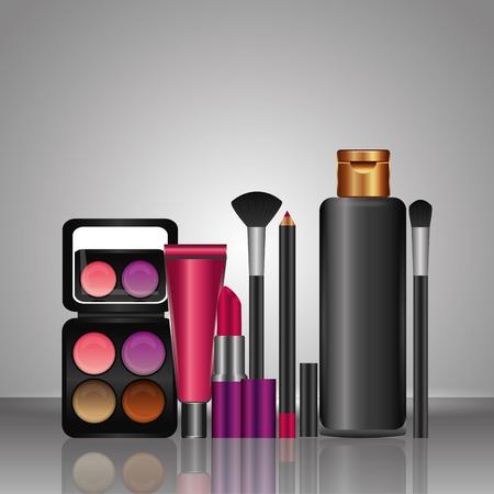cosmetics makeup lotion brush lipliner eyeshadow lipstick vector illustration