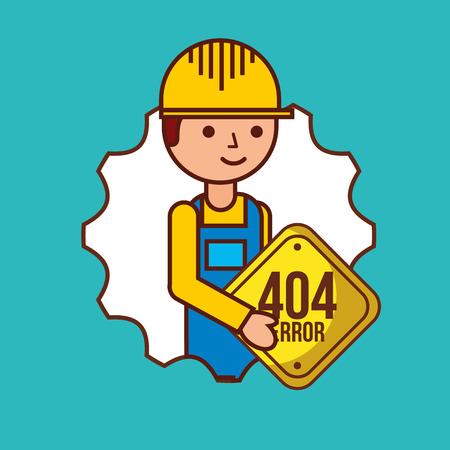 construction worker holding sign 404 error vector illustration Illustration