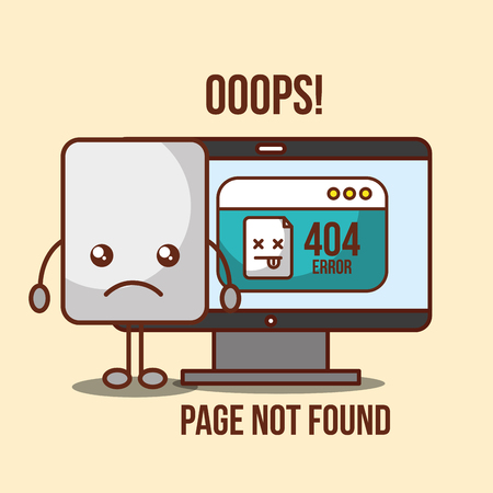 404 error page not found ooops computer vector illustration