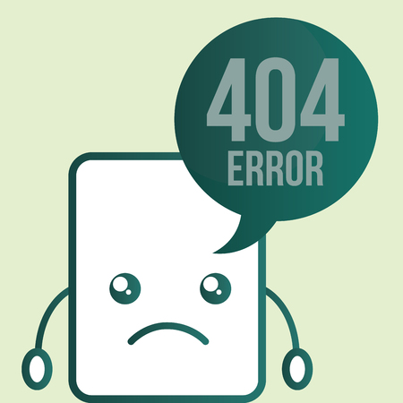 paper cartoon sad 404 error vector illustration Illustration