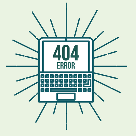 laptop with notification on screen 404 error page not found vector illustration