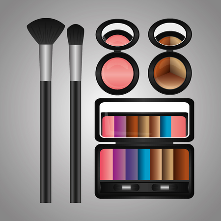 cosmetics makeup eyeshadow palette powder blusher brushes vector illustration Ilustração