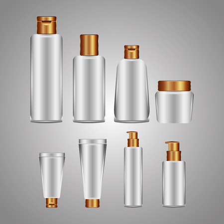 cosmetic plastic bottles with different spray dispenser pump liquid white collection vector illustration