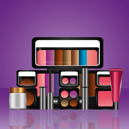 set of professional cosmetics makeup tools vector illustration