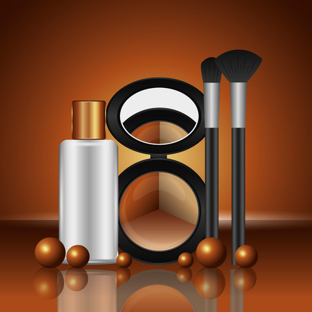 cosmetics makeup loose eyeshadow brushes and lotion bottle vector illustration