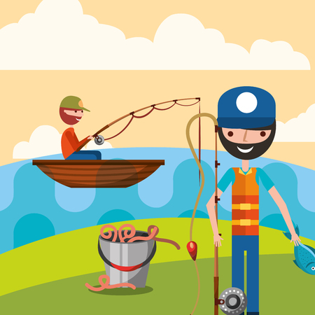 fishermen in the lake with boat worms and fish vector illustration Иллюстрация