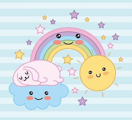 cat sleep in cloud fantasy magic rainbow cartoon vector illustration Ilustração