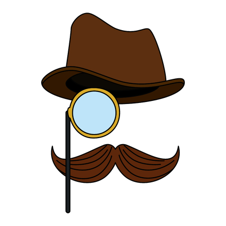 hat with glasses and mustache hipster style vector illustration design