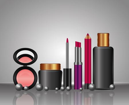 cosmetics makeup powder blusher lipgloss lipstick lipliner bottle skincare vector illustration Иллюстрация