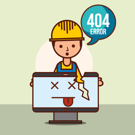 worker holds broken computer 404 error page not found vector illustration Stok Fotoğraf - 101455248
