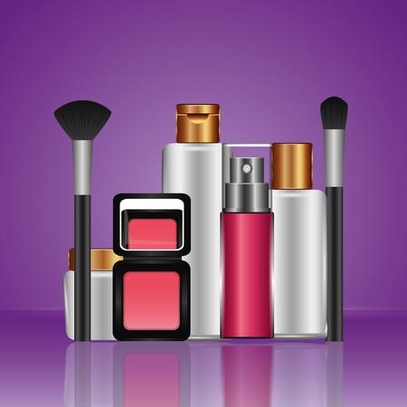 cosmetics makeup perfume lotion shampoo brsuh powder blusher vector illustration