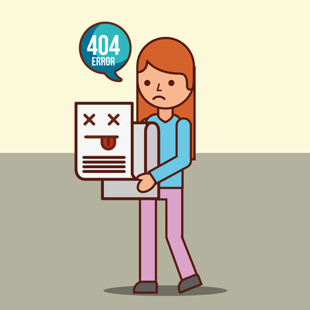 girl cartoon holding 404 error page not found vector illustration Illusztráció