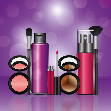 cosmetics makeup loose eyeshadow blusher fragrance lotion brush lipgloss vector illustration  イラスト・ベクター素材