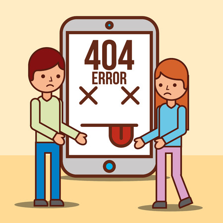 boy and girl cartoon smartphone 404 error page not found vector illustration