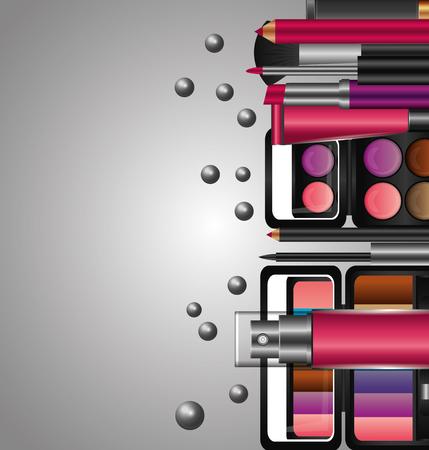 set of professional cosmetics makeup tools vector illustration