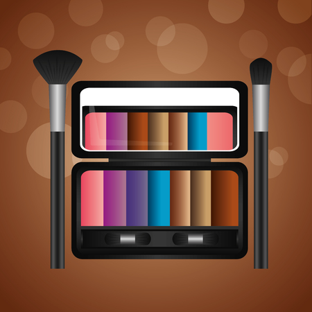 cosmetics makeup set palette eyeshadows and brushes vector illustration