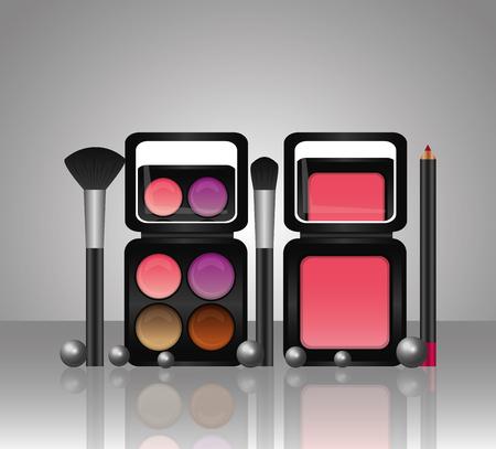 cosmetics makeup palette eyeshadow powder blusher brushes vector illustration Illustration