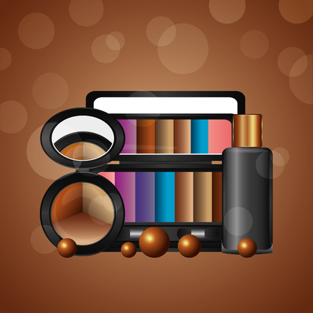 cosmetics makeup loose eyeshadow palette gel bottle vector illustration
