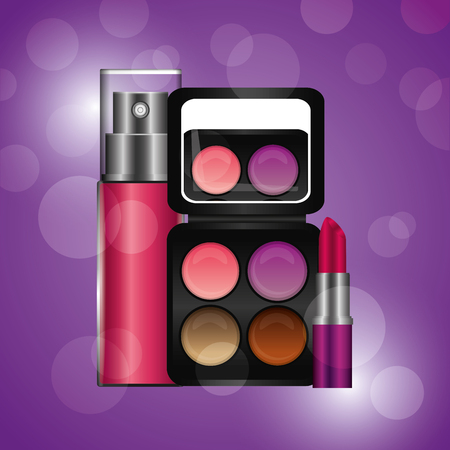 cosmetics makeup fragrance palette lipstick vector illustration Illustration