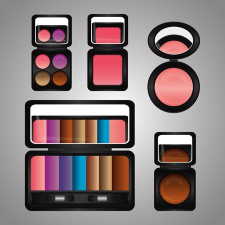 cosmetics makeup kit eyeshadow blusher mirror vector illustration