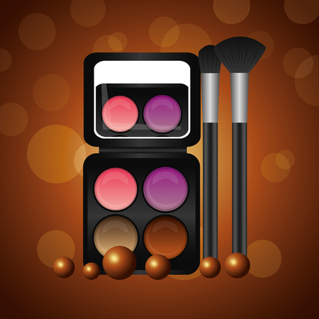 cosmetics makeup eyeshadows and brushes vector illustration Иллюстрация
