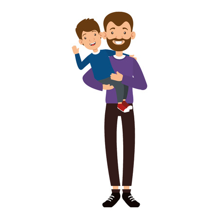 cute father with beard lifting son avatars characters vector illustration design Illustration