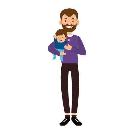 Lindo padre con barba levantando personajes de avatares de bebé, diseño de ilustraciones vectoriales