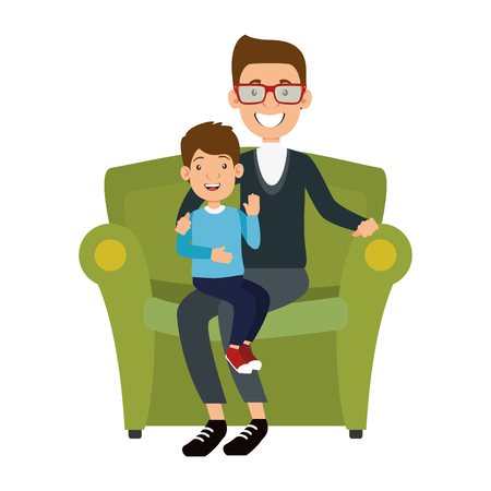 cute father lifting son in sofa vector illustration design 向量圖像