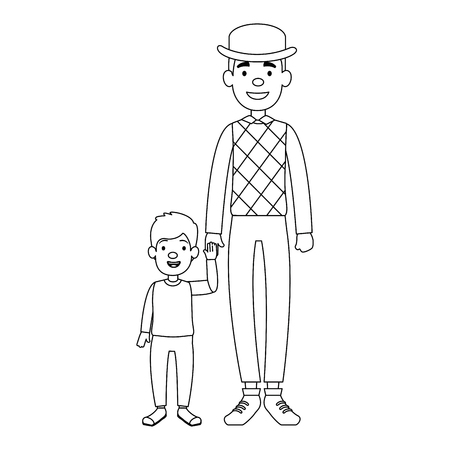 cute father with son avatars characters vector illustration design