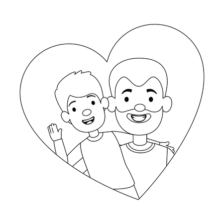 cute father with son in heart vector illustration design Illustration