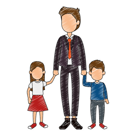cute father with son and daughter vector illustration design Illustration