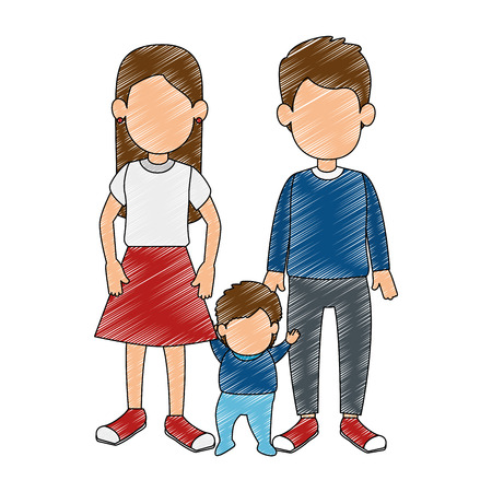 father and mother with baby vector illustration design