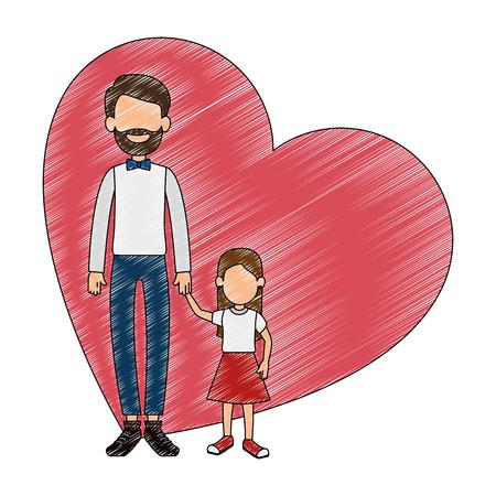 Lindo padre con hija en el corazón, diseño de ilustraciones vectoriales Foto de archivo - 101446594