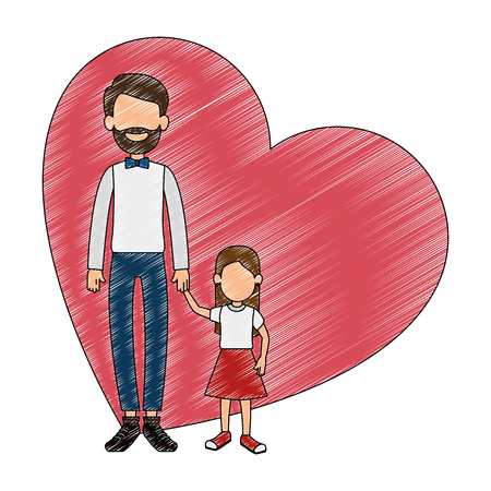 cute father with daughter in heart vector illustration design