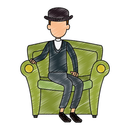 cute father in sofa avatar character vector illustration design Illustration