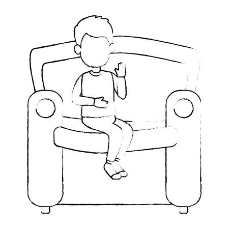 little boy son in the sofa character vector illustration design Vettoriali